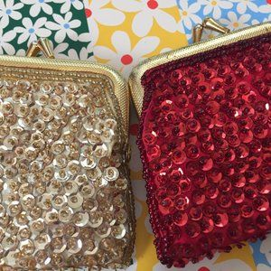 Pair of vintage sequin change purses in red, gold
